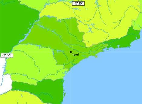 Localização de Tatuí no Estado de SP
